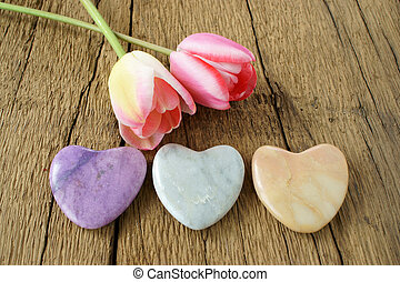 tulips, камень, hearts, три, два