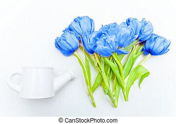 tulips, синий, прокладывать, год, background., букет, белый, модный, 2020, цветной, цветы, 19-4052., вверх, свежий, пространство, посмотреть, копия, классический, яркий, квартира, макрос, цвет
