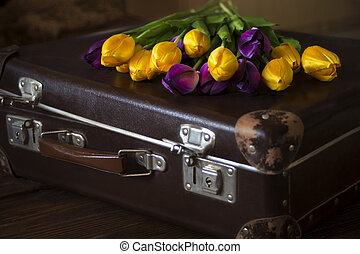 Tulips and an old suitcase