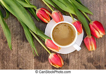 Tulips and cup of coffee