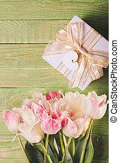 Tulips and gift box