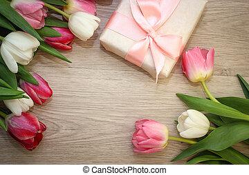 Tulips and gift