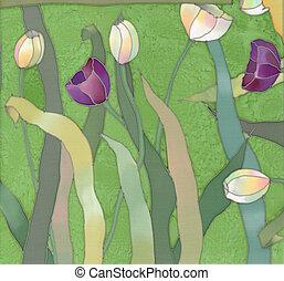 tulips batik background 2