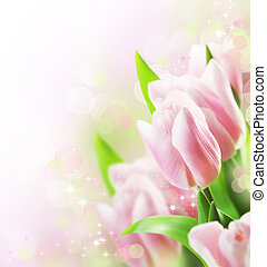 tulips, borda, desenho, primavera