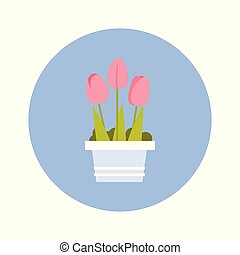 Tulips Bouqet Icon On Blue Round Background Isolated