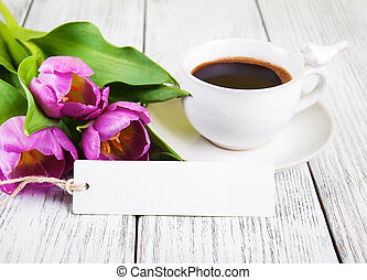 tulips bouquet blank greeting card and coffee cup
