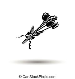 Tulips bouquet icon with tied bow. White background with...