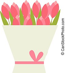 Tulips bouquet vector illustration.