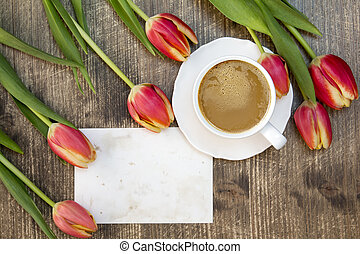 Tulips ,coffee cup and blank card