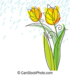 Tulips design on white background