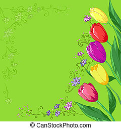 tulips, fiori, verde