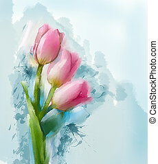 tulips, flores, quadro, vermelho, óleo