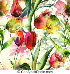 tulips, flores, seamless, papel parede