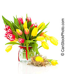 tulips flowers with easter egg on a white background