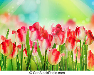 Tulips garden with grass on blue sky. EPS 10