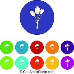 Tulips icons set flat vector