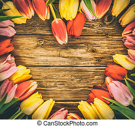 Tulips in a heart-shaped frame