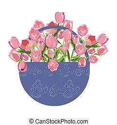Tulips in basket flat hand drawn.