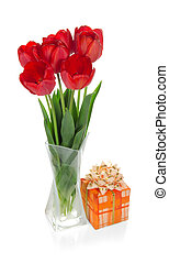 Tulips in vase and gift box with tape