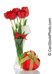 Tulips in vase and gift