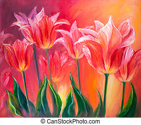 Tulips, oil painting on canvas