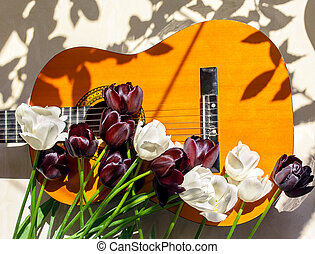 tulips on a guitar