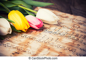 Tulips on a music notes paper