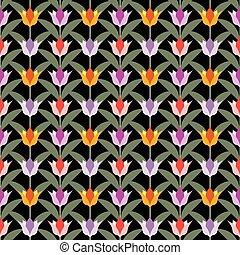 tulips on black seamless back ground