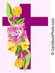 tulips., púrpura, cruz, amarillo, lavanda, rosas, rociar