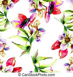 tulips, padrão, flores, seamless, gerber