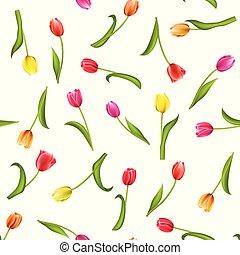 tulips., próbka, seamless, ilustracja, akwarela, tło., białe kwiecie, czerwony