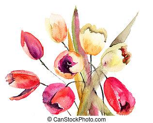 tulips, quadro, aquarela, flores
