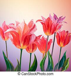 Tulips. Spring flowers invitation