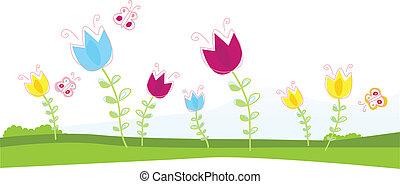 Tulips - Spring flowers. Vector Illustration.