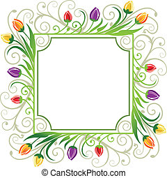 Tulips spring frame - Colorful tulips spring frame on white...