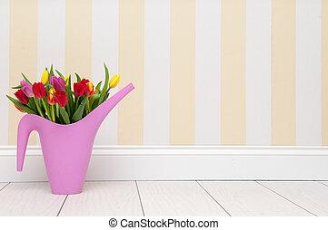 tulips, standing, vicino, uno, parete
