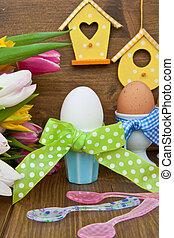 Tulips, uova, pasqua, colorito