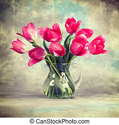 Tulips. Vintage retro hipster style version