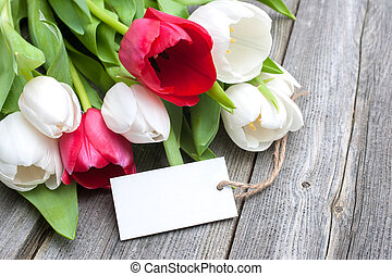 Tulips with an empty tag