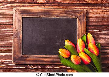 Tulips with chalkboard