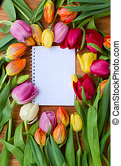 tulips with notebook