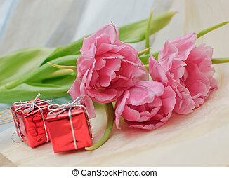 Tulips with the gifts