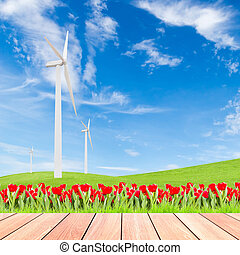 tulips with wind turbine on green grass field against blue sky background and wood plank foreground, used for green earth concept