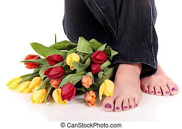 tulips, woman., gambe, pasqua