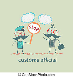 tull, stopp, tjänsteman, holdingen, underteckna
