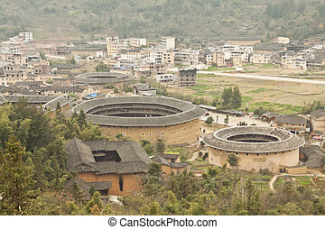 Tulou view from the top in Fujian, China