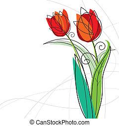 tulp, witte achtergrond, ontwerp