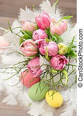 tulpan, blomningen, med, påsk eggar, dekoration