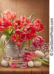 tulpan, blomningen, och, påsk eggar