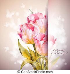 tulpaner, bakgrund., blomningen